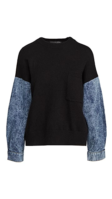 endless rose Denim Sleeve Sweatshirt