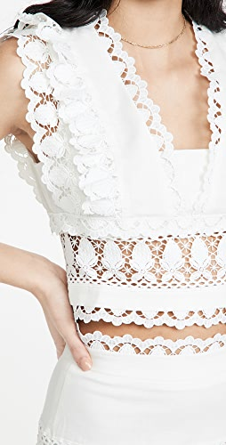 endless rose - Plunging Neck Lace Trim Top