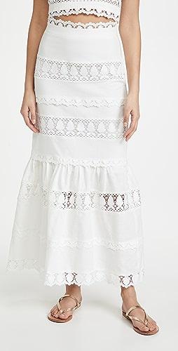 endless rose - Lace Trim Maxi Skirt