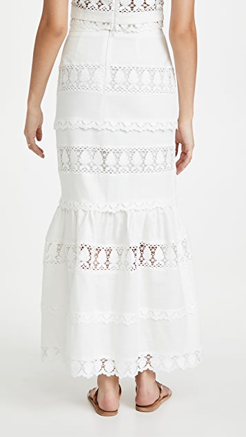 endless rose Lace Trim Maxi Skirt