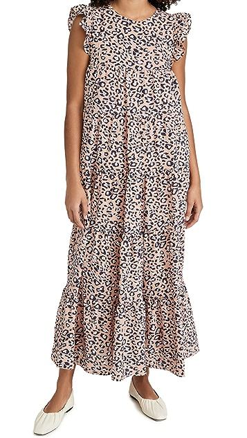endless rose 动物印花层褶长连衣裙