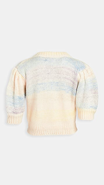 En Saison Ombre Cardigan Top With Puff Sleeves