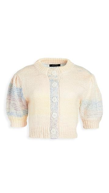 En Saison 泡泡袖渐变色开襟衫上衣
