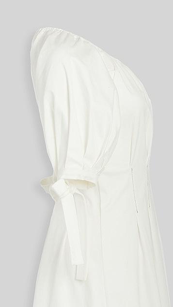En Saison Pintuck Midi Dress With Ruffled Sleeves