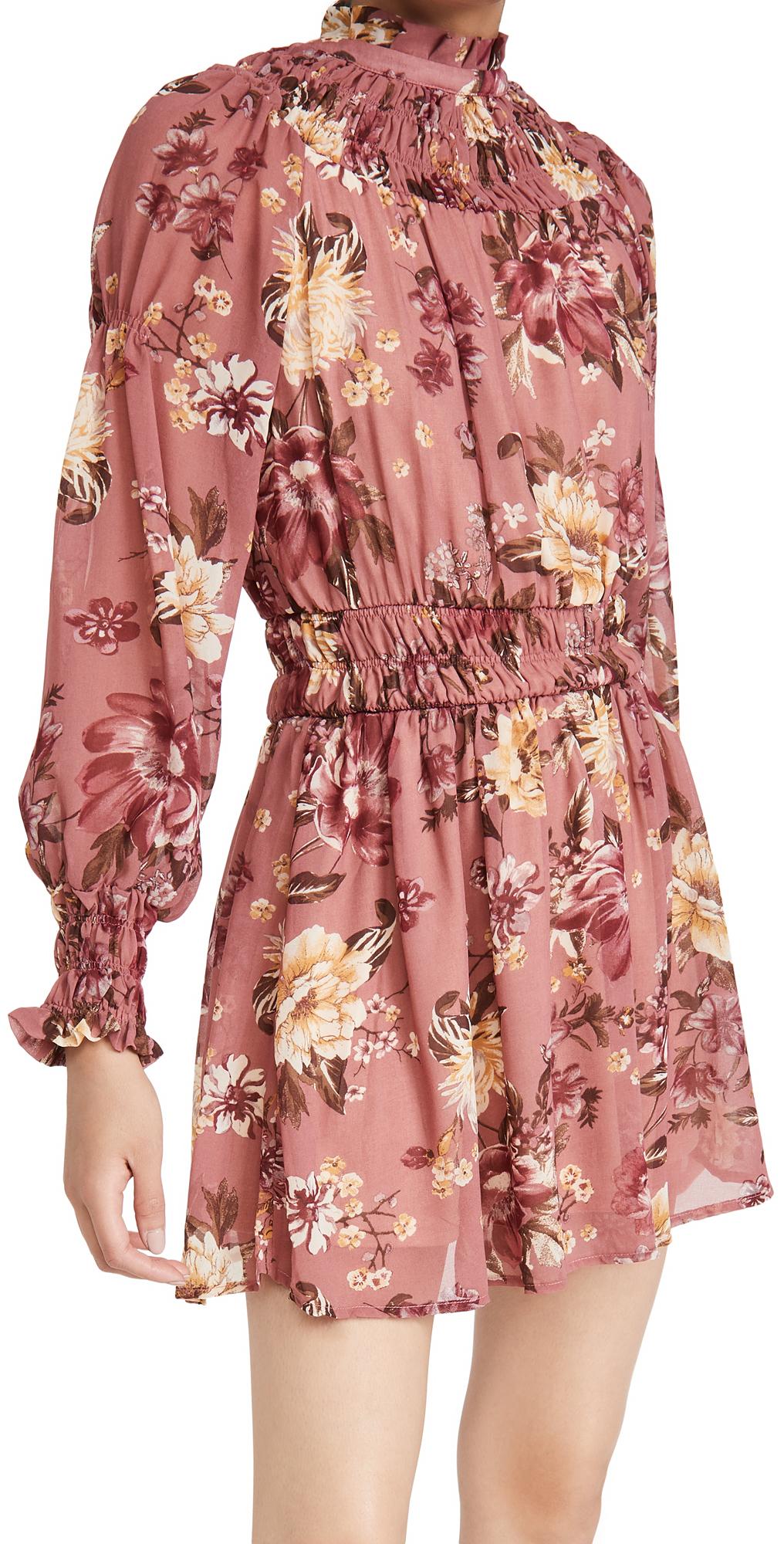 En Saison Floral Print Mini Dress With Long Sleeves