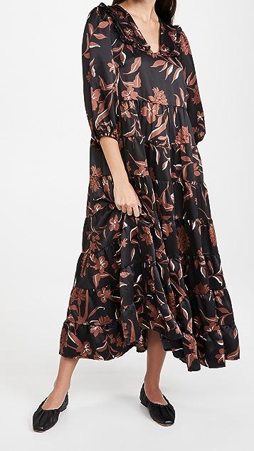 En Saison Satin Tiered Midi Dress