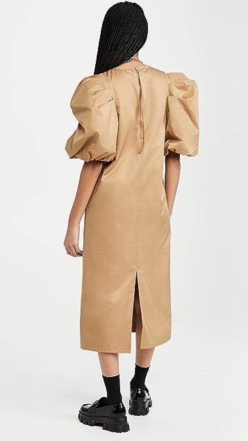 En Saison Poplin Midi Dress With Puffed Sleeves