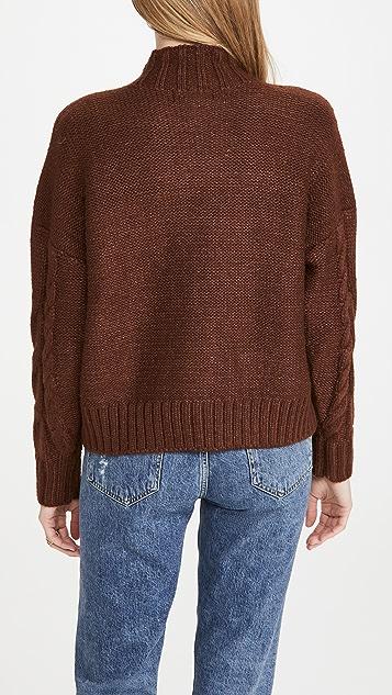 En Saison Mock Neck Cable Knit Sweater