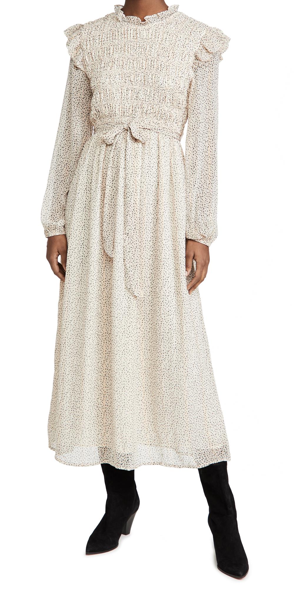 En Saison Smocked Chiffon Midi Dress