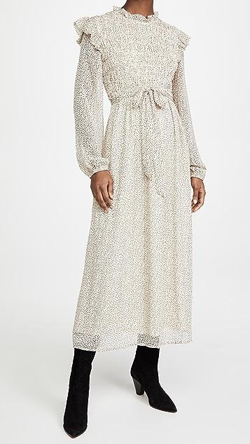 En Saison 抽褶雪纺中长连衣裙