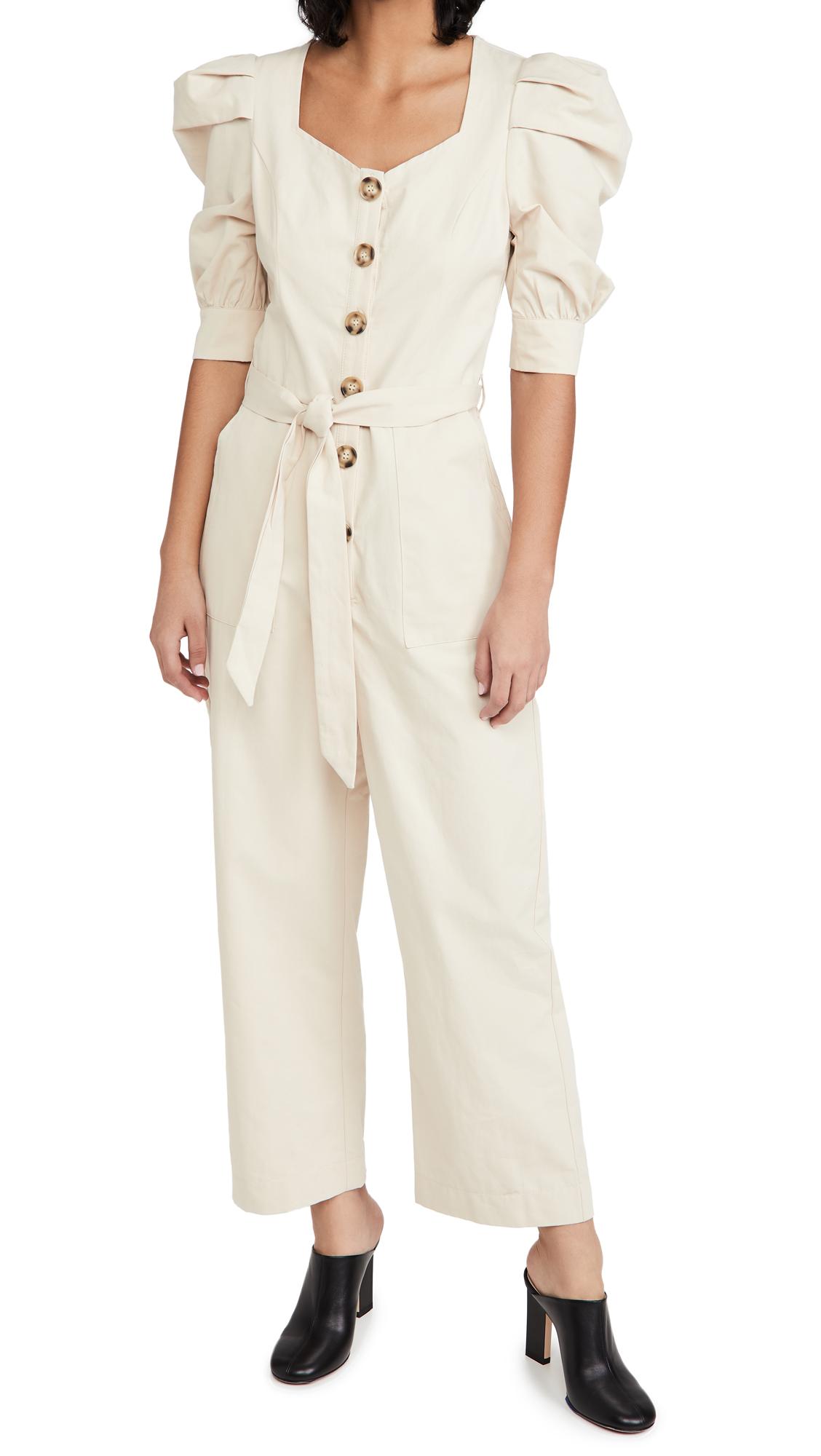 En Saison Cotton Poplin Jumpsuit with Puff Sleeves