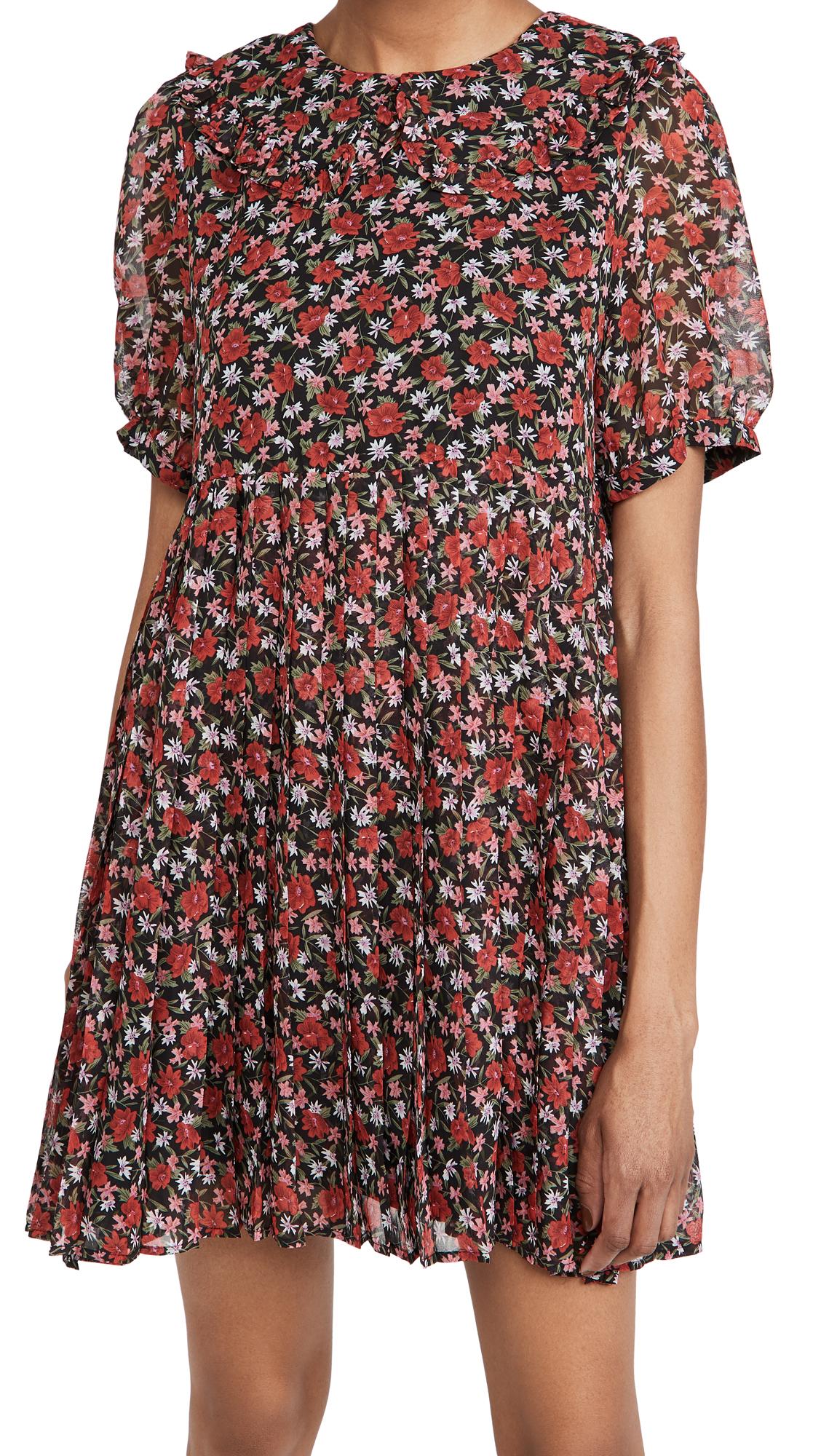 En Saison Pleated Floral Print Mini Dress