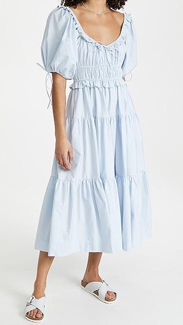 En Saison Poplin Tiered Midi Dress