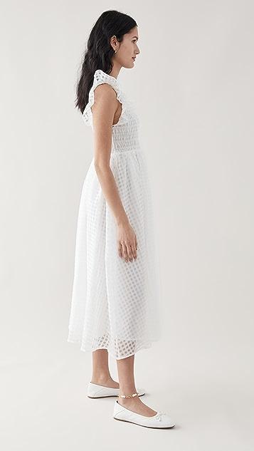 En Saison 透明硬纱格子中长连衣裙