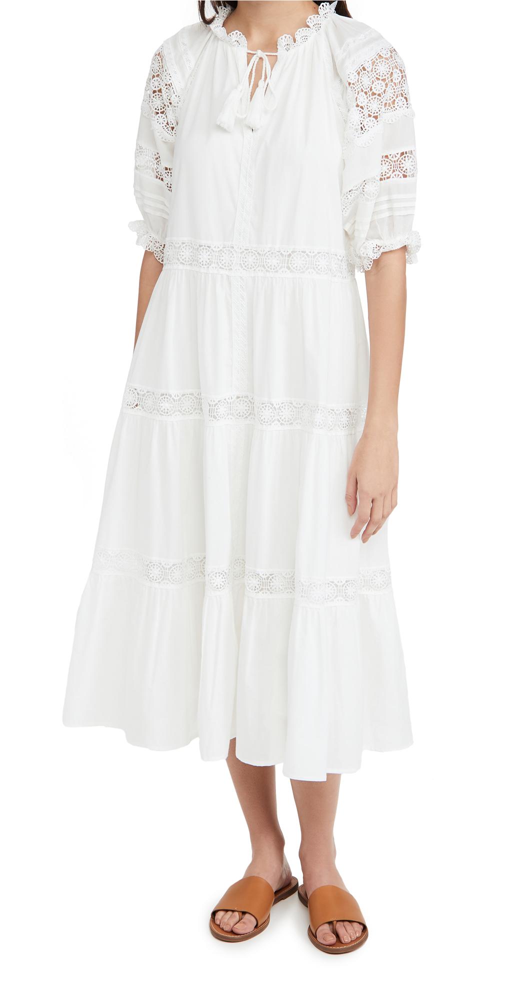 En Saison Tiered Lace Detail Midi Dress