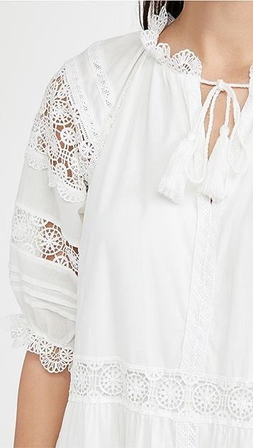 En Saison 层褶蕾丝细节中长连衣裙