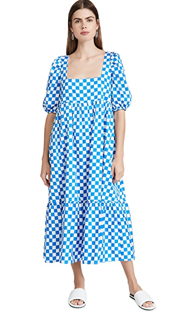 En Saison Check Print Midi Dress