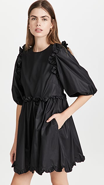En Saison Poplin Scallop Detail Mini Dress