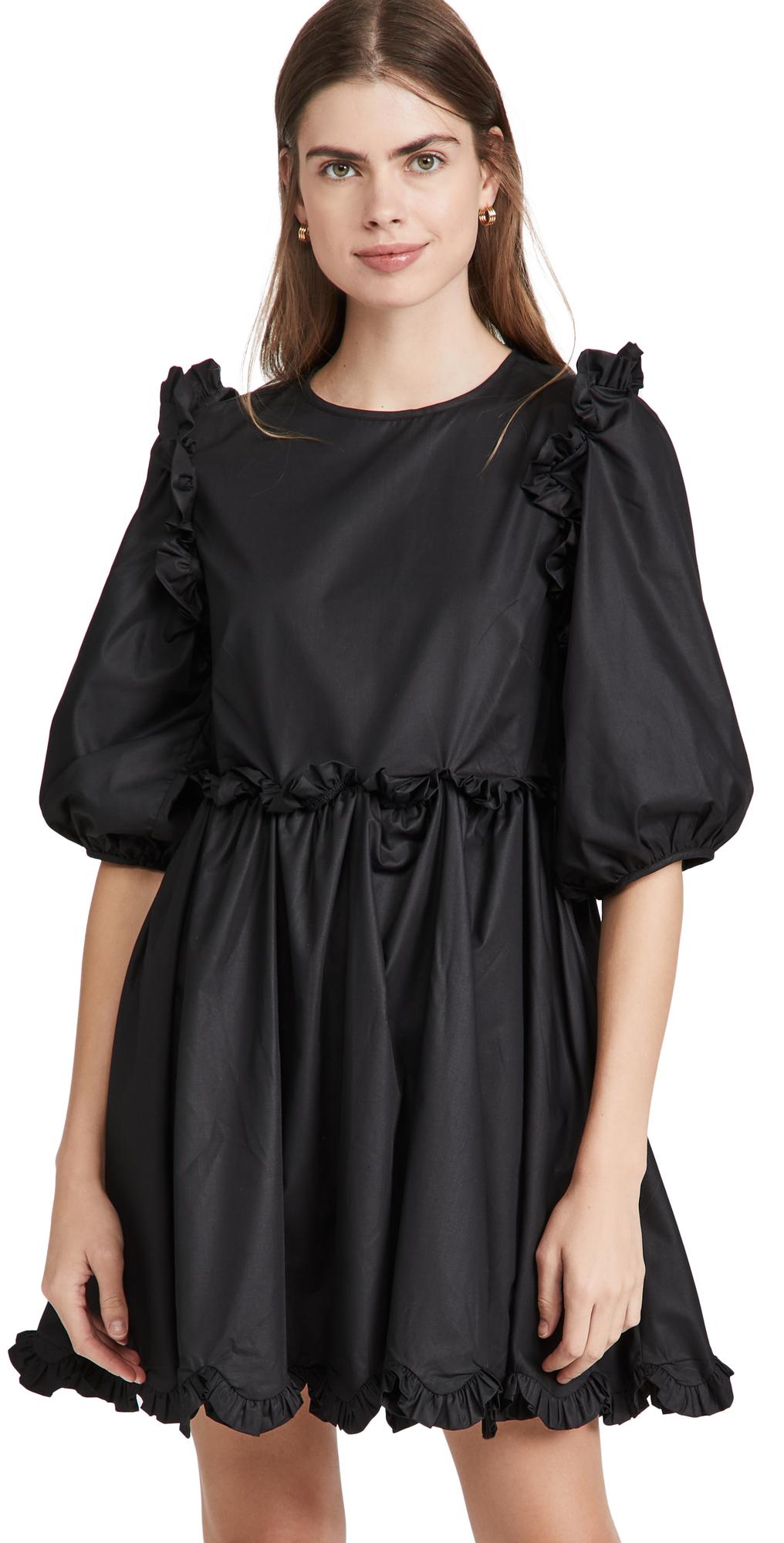 Poplin Scallop Detail Mini Dress