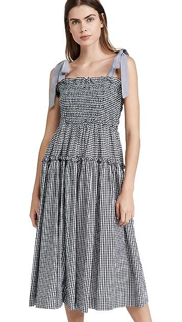 En Saison Gingham Smocked Midi Dress