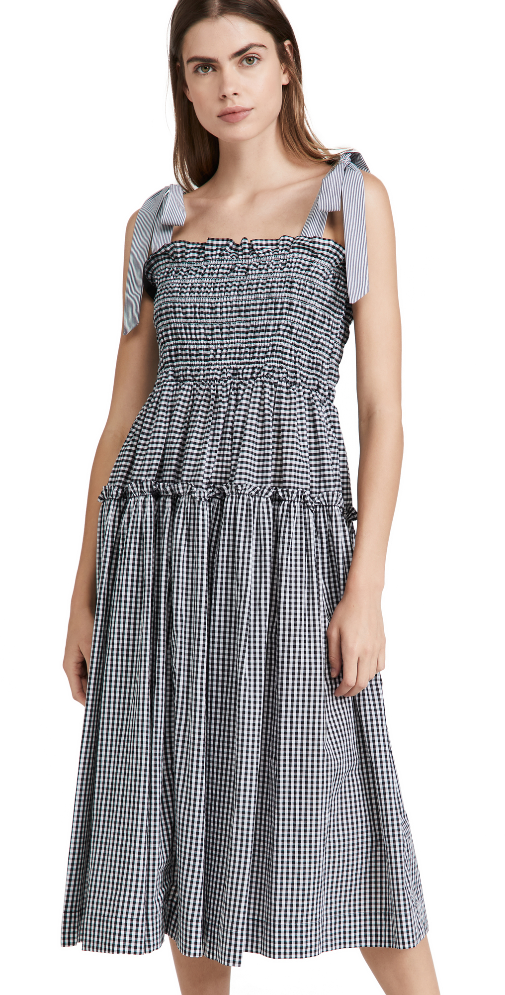 Gingham Smocked Midi Dress