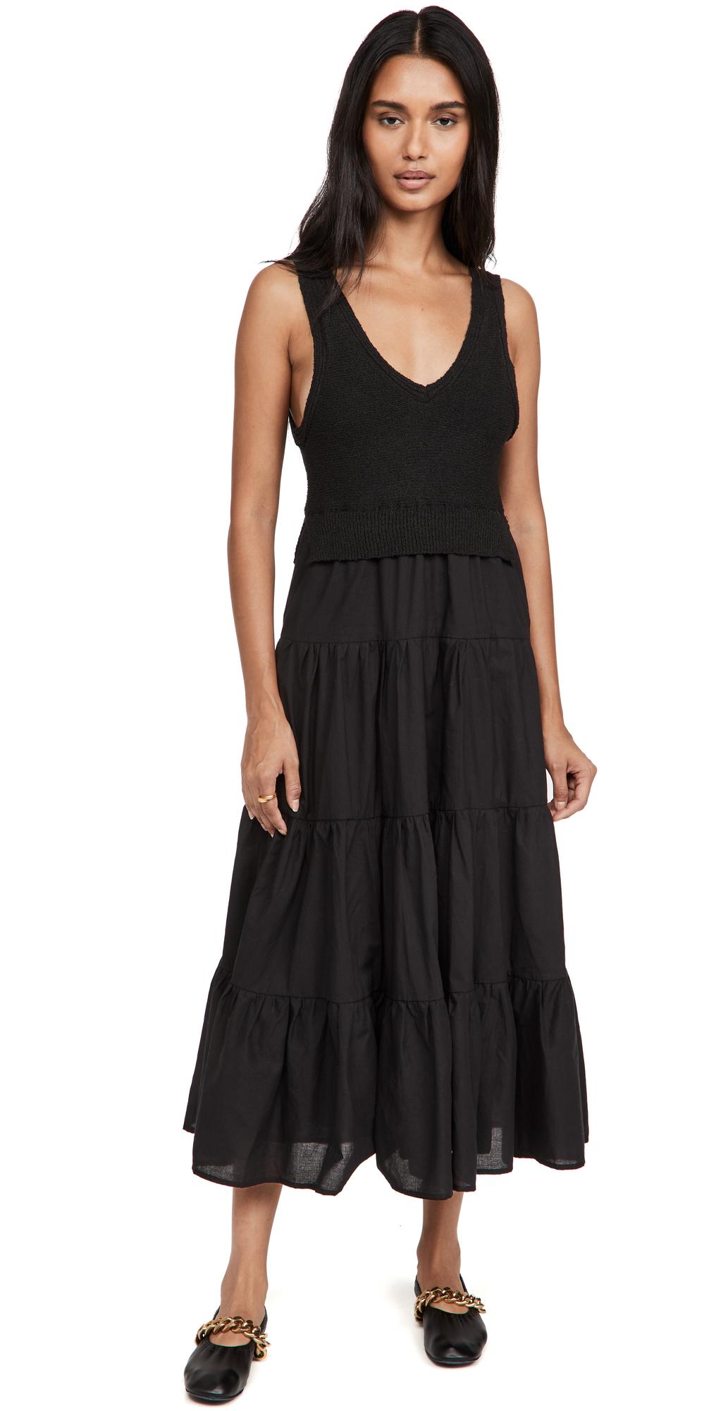 Mixed Media Tiered Maxi Dress