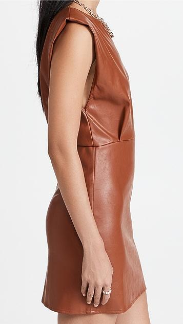 En Saison Vegan Leather Padded Shoulder Dress