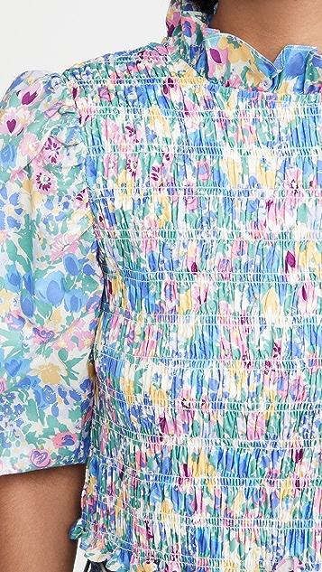 En Saison Floral Print Smocked Top