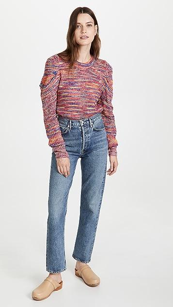 En Saison Puff Sleeve Space Dye Crew Neck Sweater