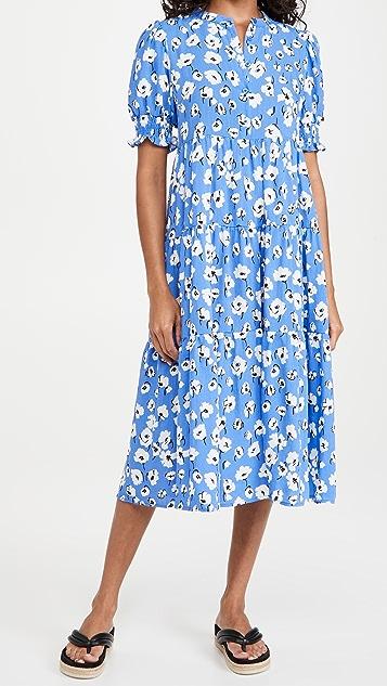 En Saison Floral Print Linen Midi Dress