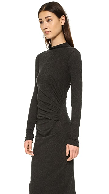 Enza Costa Ruched Long Sleeve Dress