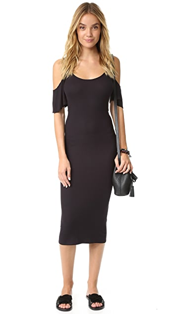 Enza Costa Rib Flutter Sleeve Dress