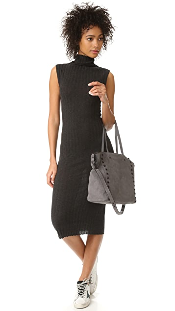 Enza Costa Ribbed Sleeveless Turtleneck Midi Dress