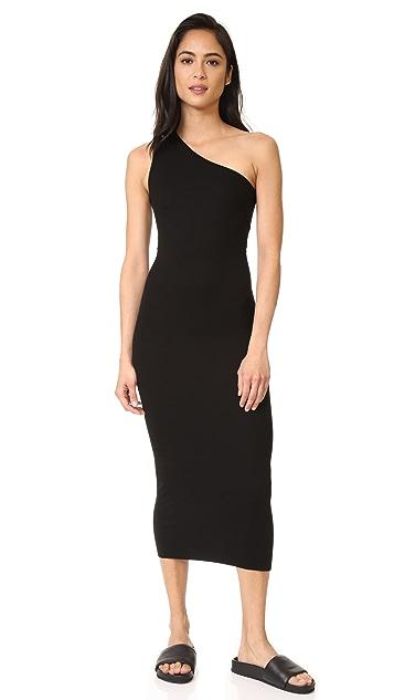 Enza Costa Woman One-shoulder Ribbed-knit Midi Dress Black Size M Enza Costa 4EXPhOt