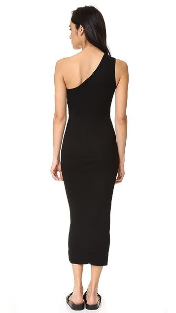 Enza Costa Rib One Shoulder Midi Dress