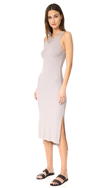 Enza Costa Rib Sleeveless Side Slit Midi Dress