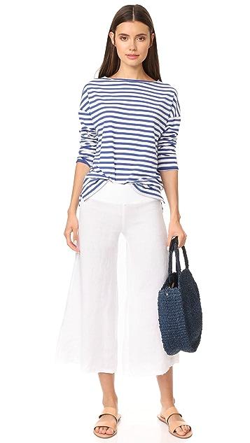 Enza Costa Cropped Wide Leg Linen Pants