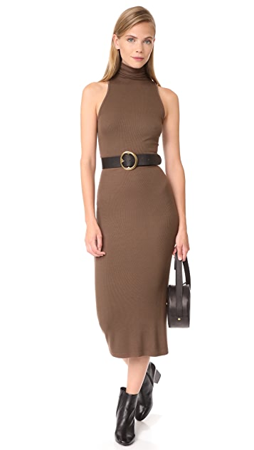 Enza Costa Rib Sleeveless Turtleneck Midi Dress