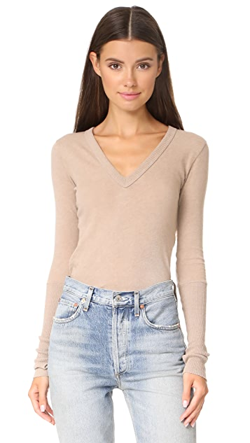 Enza Costa Cuffed V Neck Top