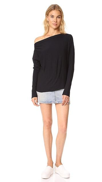 Enza Costa Brushed Fleece Exposed Shoulder Pullover
