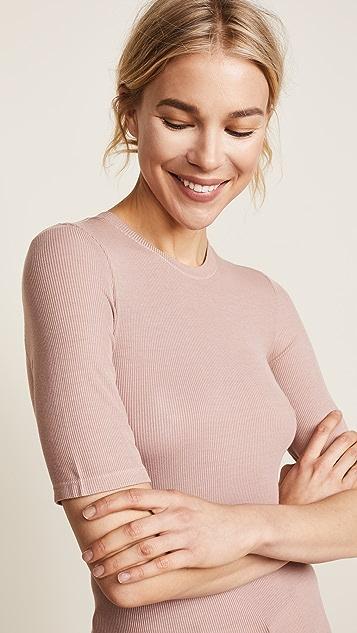 Enza Costa Пуловер с рукавами по локоть из ткани в рубчик