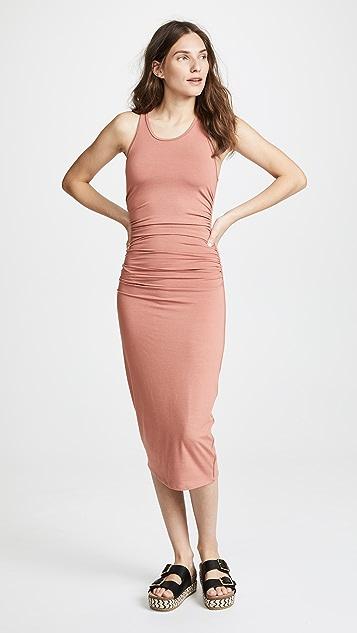 Enza Costa Side Ruched Midi Tank Dress