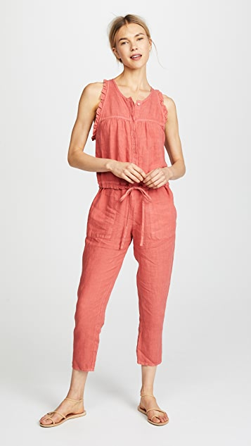 Enza Costa Sleeveless Ruffle Jumpsuit
