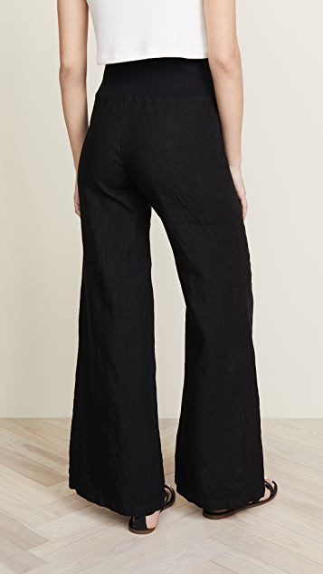 Enza Costa Linen Pintuck Wide Leg Pants