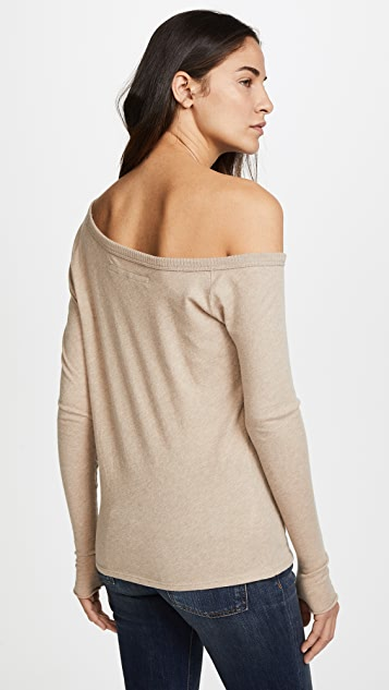 Enza Costa Long Sleeve Off the Shoulder Top