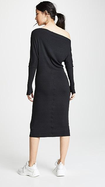 Enza Costa Миди-платье с открытыми плечами из ткани в рубчик