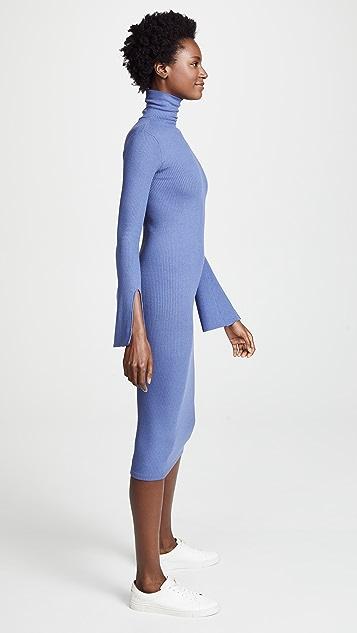 Enza Costa Ribbed Split Sleeve Midi Dress