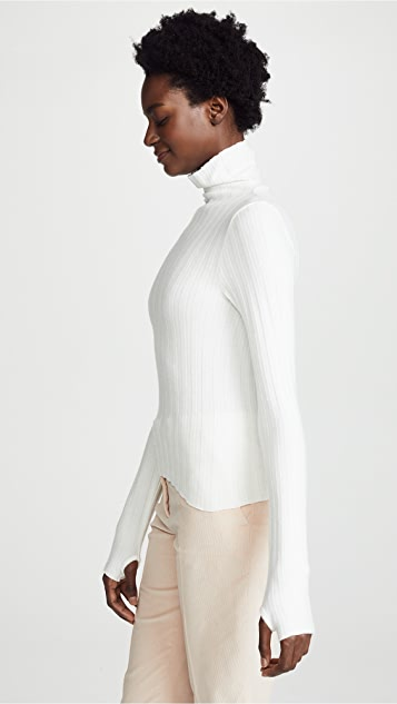 Enza Costa Ribbed Cropped Turtleneck