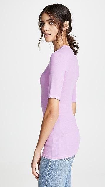 Enza Costa Облегающая футболка с округлым вырезом из ткани в рубчик с рукавами по локоть