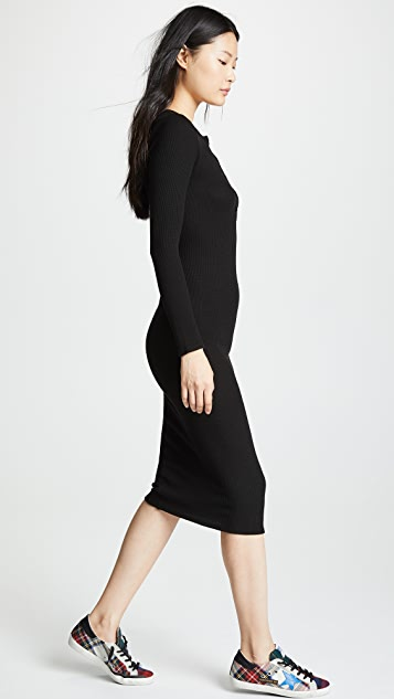 Enza Costa Thermal Long Sleeve Henley Midi Dress